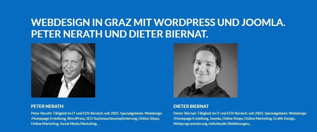 Webdesign aus Graz. Ihre Webdesigner Dieter Biernat und Peter Nerath in Graz. Hier finden Sie eine grosse Auswahl an Webdesign, Homepage - und Online Shop Referenzen der beiden Grazer Internetagenturen perfect:net | Dieter Biernat, nerath internet edv & social media | Peter Nerath